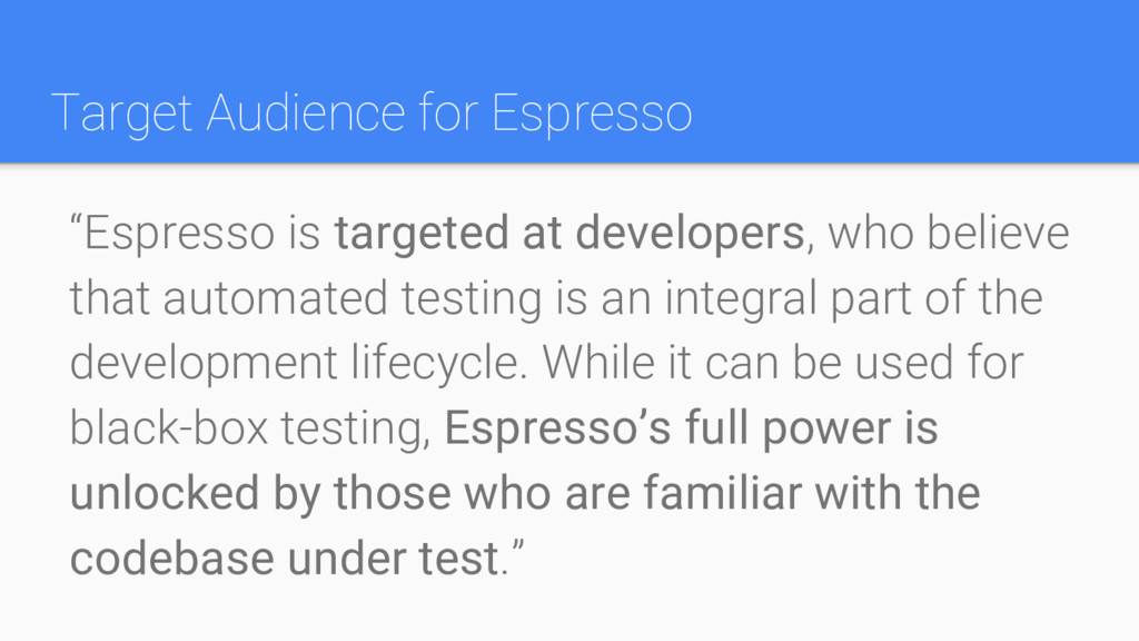 "Target Audience for Espresso ""Espresso is targe..."