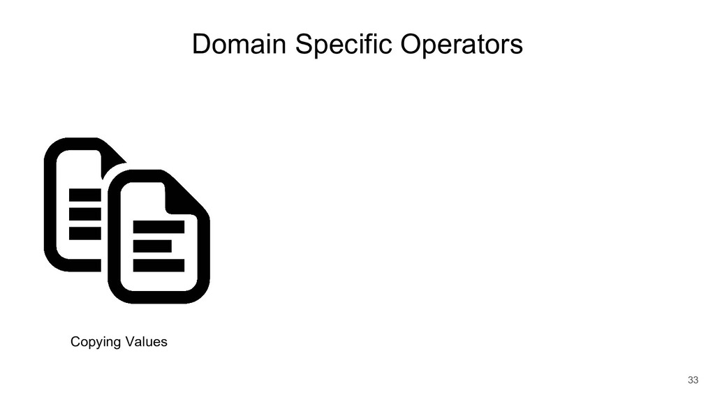 Domain Specific Operators 33 Copying Values