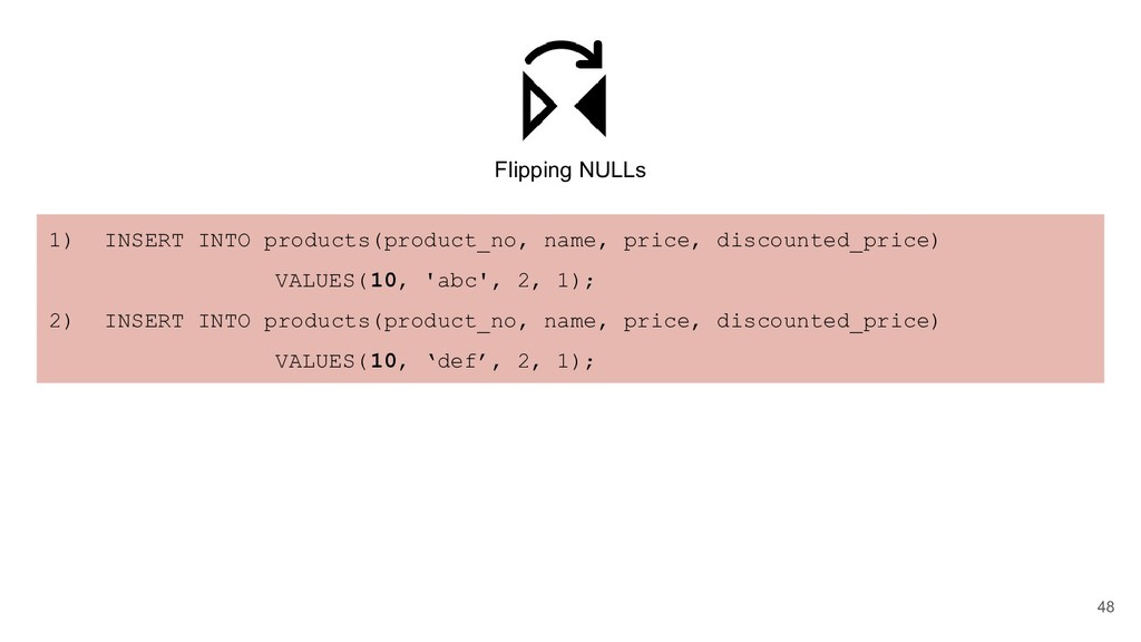 Flipping NULLs 1) INSERT INTO products(product_...