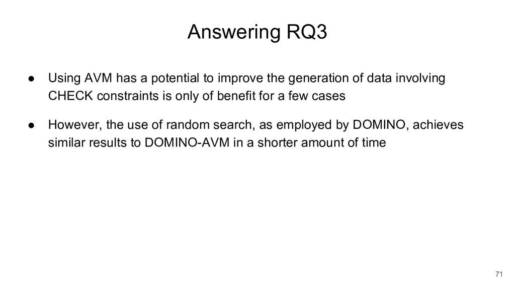 Answering RQ3 ● Using AVM has a potential to im...