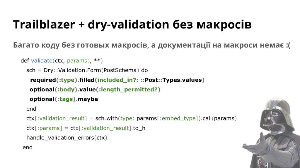 Trailblazer + dry-validation без макросів Багат...
