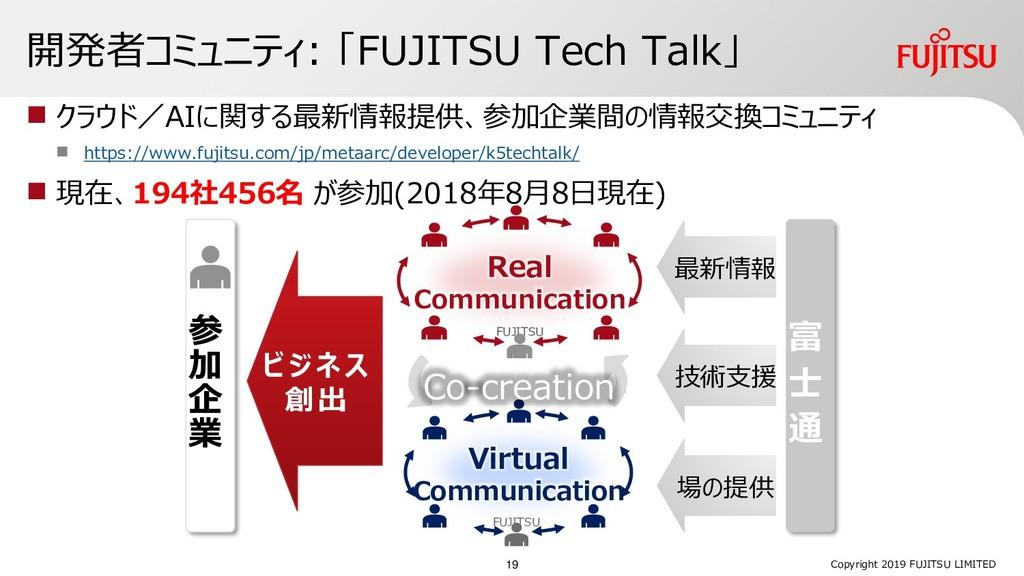 開発者コミュニティ: 「FUJITSU Tech Talk」  クラウド/AIに関する最新情...