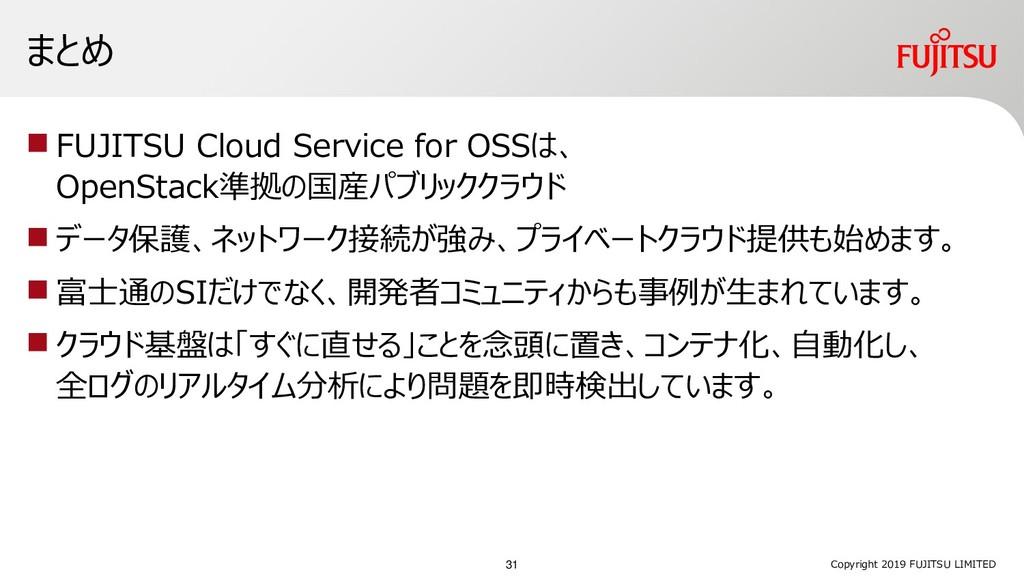 まとめ  FUJITSU Cloud Service for OSSは、 OpenStack...