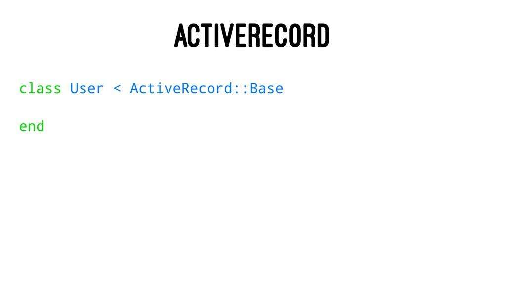 ACTIVERECORD class User < ActiveRecord::Base end