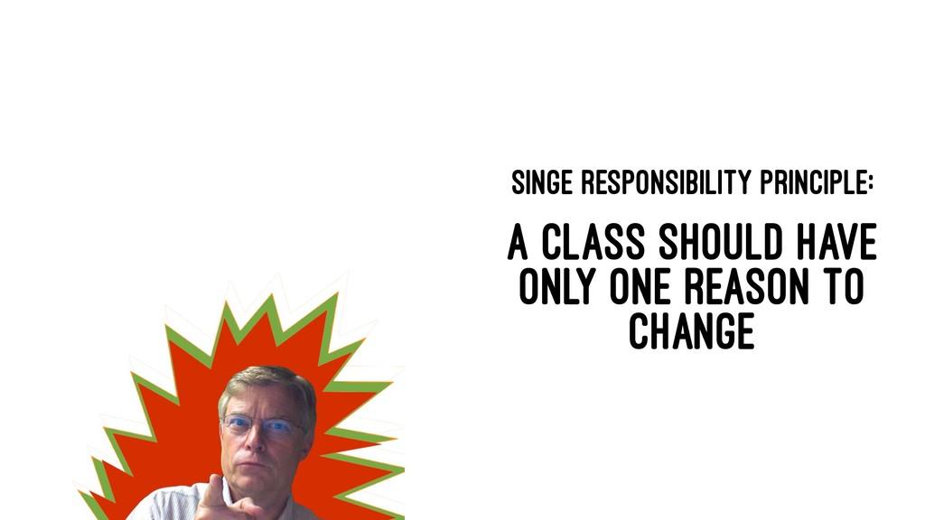 SINGE RESPONSIBILITY PRINCIPLE: A CLASS SHOULD ...