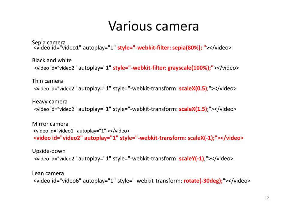 "Various camera Sepia camera <video id=""video1"" ..."