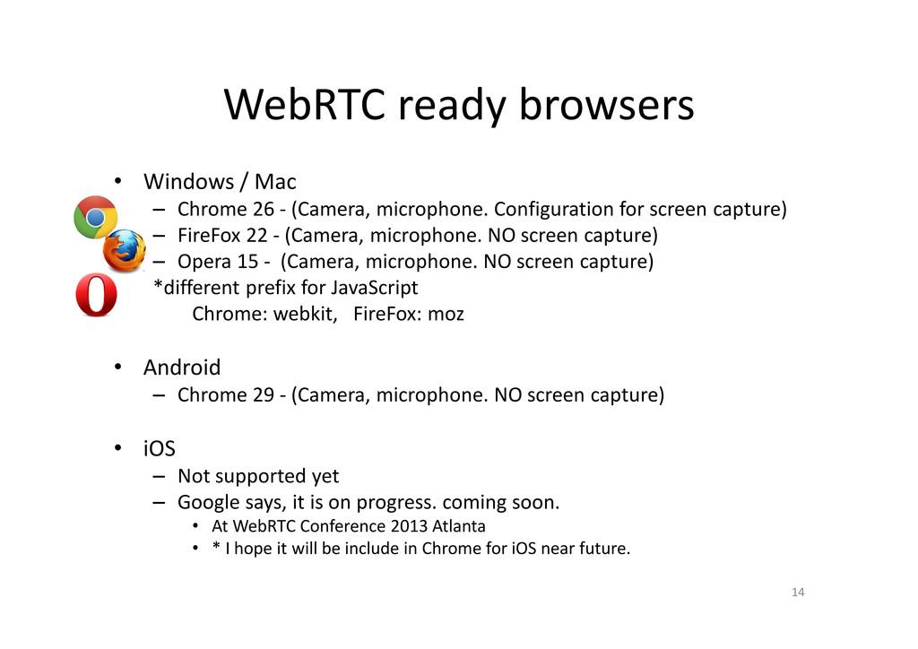 WebRTC ready browsers • Windows / Mac – Chrome ...