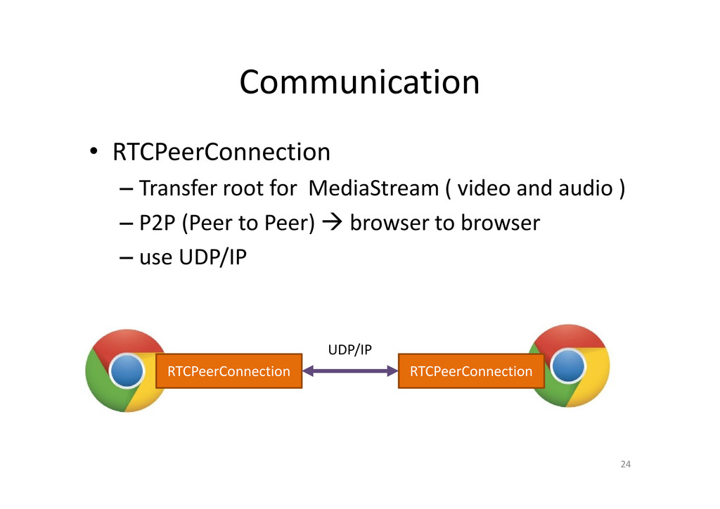 Communication • RTCPeerConnection – Transfer ro...