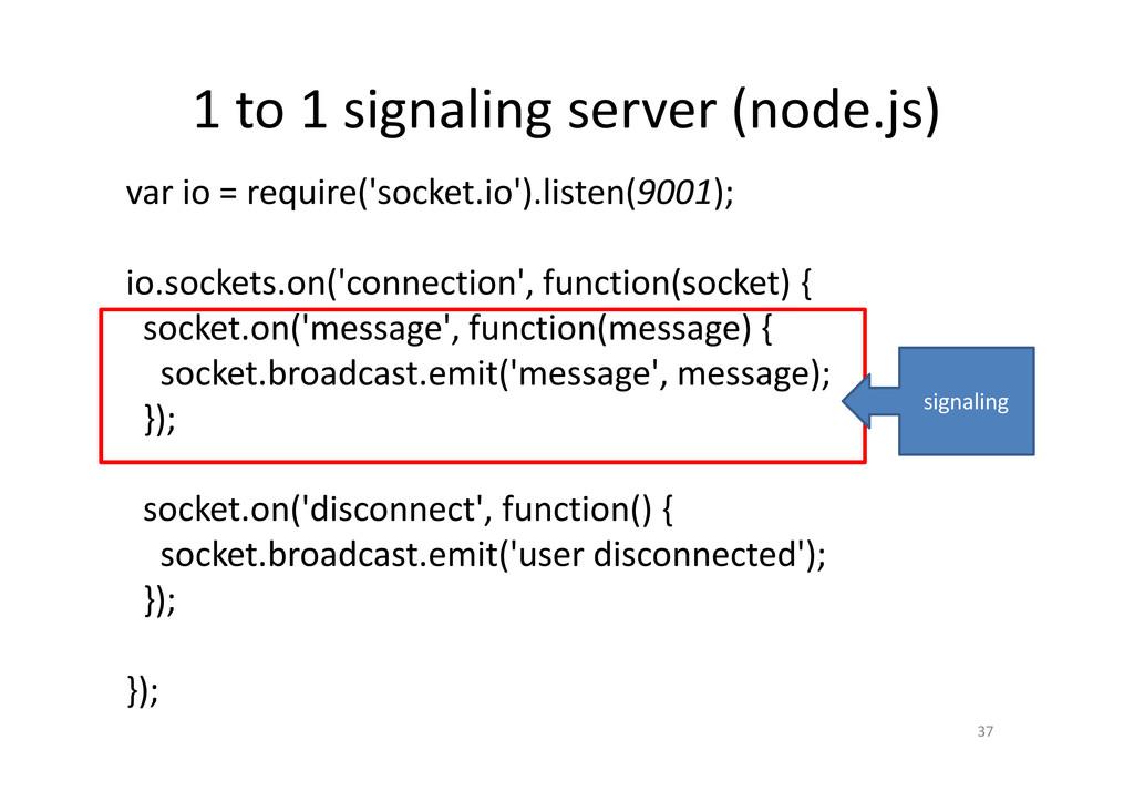 1 to 1 signaling server (node.js) 37 var io = r...