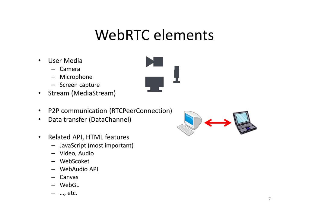 WebRTC elements • User Media – Camera – Microph...