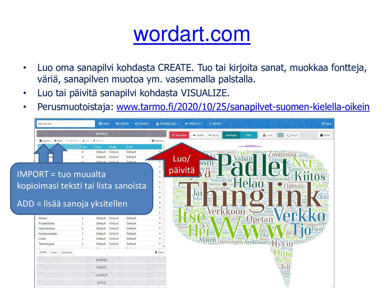 whiteboard.fi Opettajana voit luoda taulun ja k...