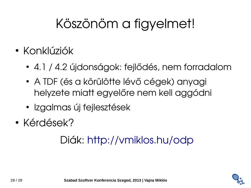 29 / 29 Szabad Szoftver Konferencia Szeged, 201...