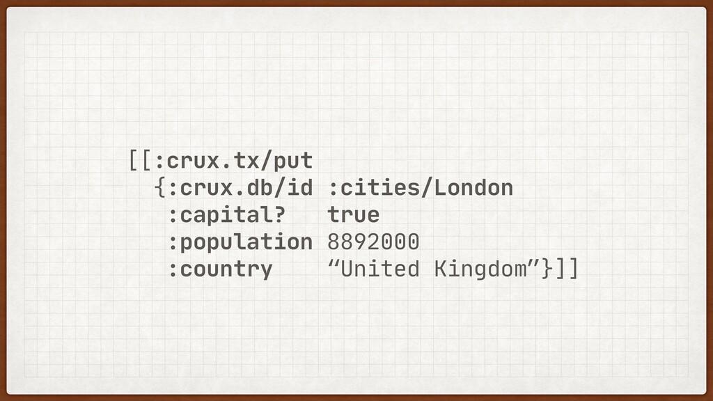 [[:crux.tx/put  {:crux.db/id :cities/London  :c...