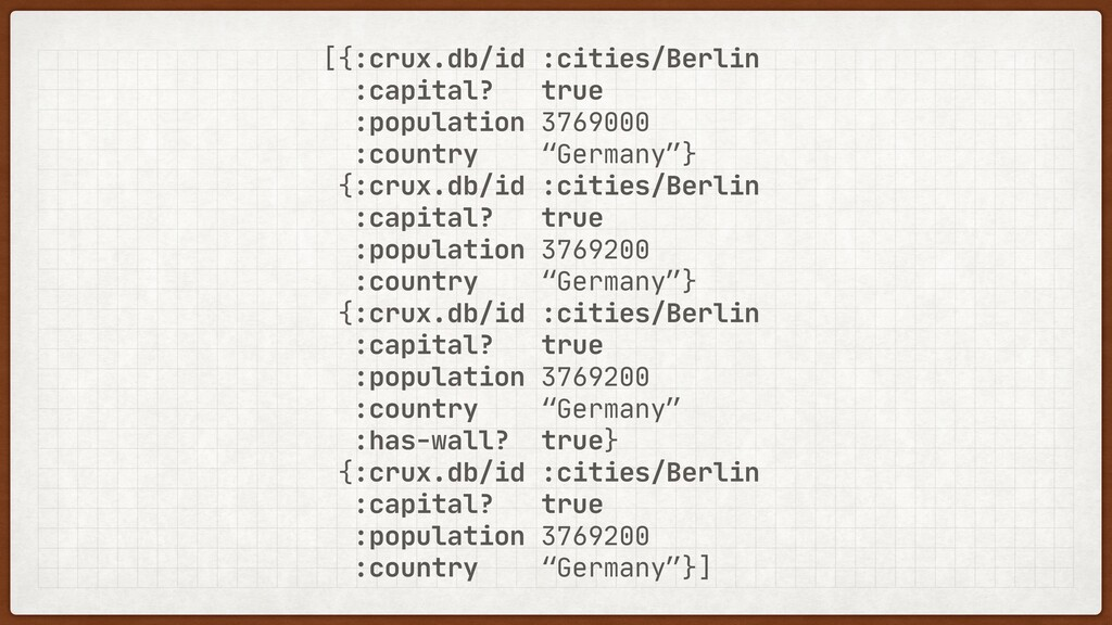 [{:crux.db/id :cities/Berlin  :capital? true  :...