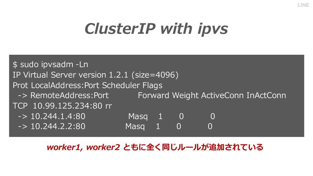 ClusterIP with ipvs $ sudo ipvsadm -Ln IP Virtu...