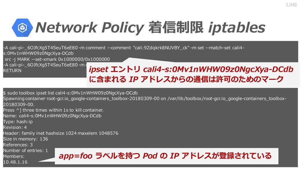 Network Policy 着信制限 iptables -A cali-pi-_6OJfcX...