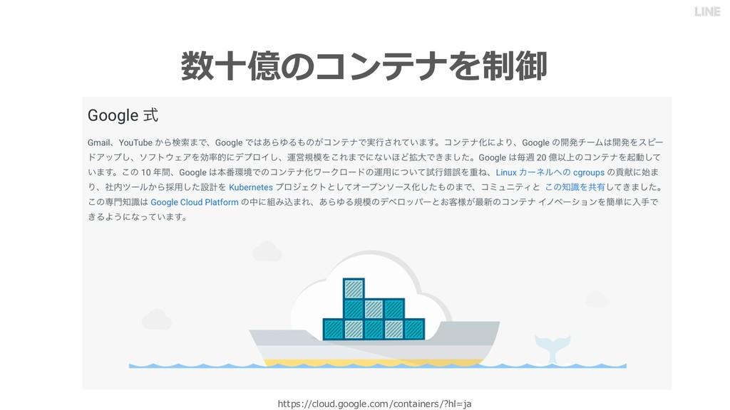 数⼗億のコンテナを制御 https://cloud.google.com/containers...
