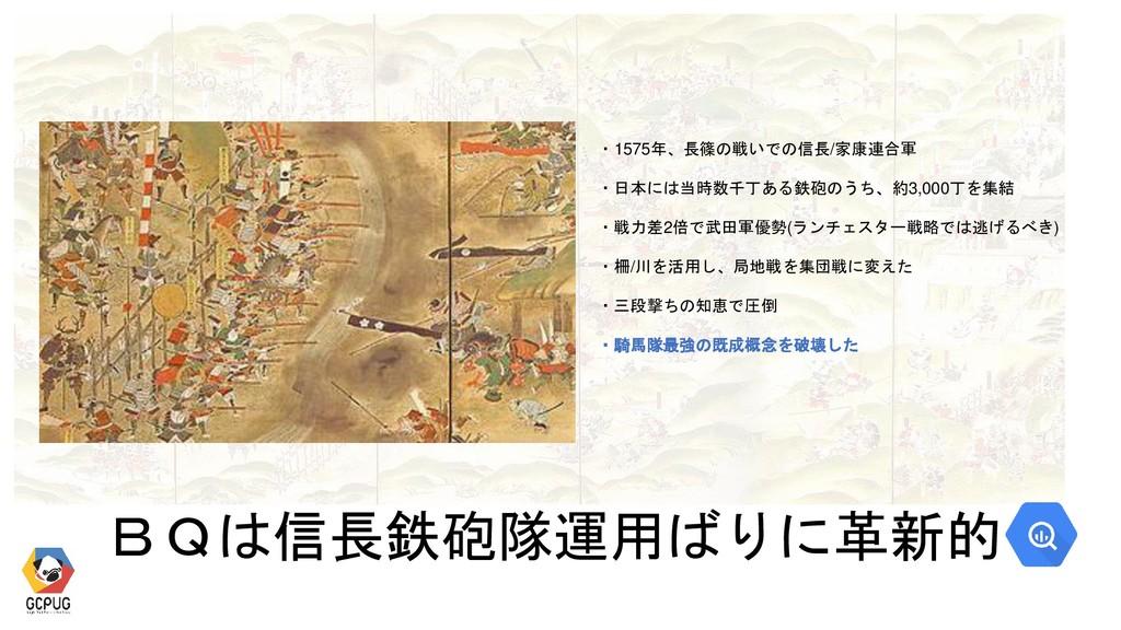 ・1575年、長篠の戦いでの信長/家康連合軍 ・日本には当時数千丁ある鉄砲のうち、約3,000...