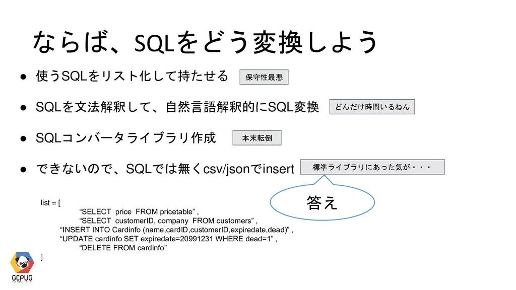 ならば、SQLをどう変換しよう ● 使うSQLをリスト化して持たせる ● SQLを文法解釈して...