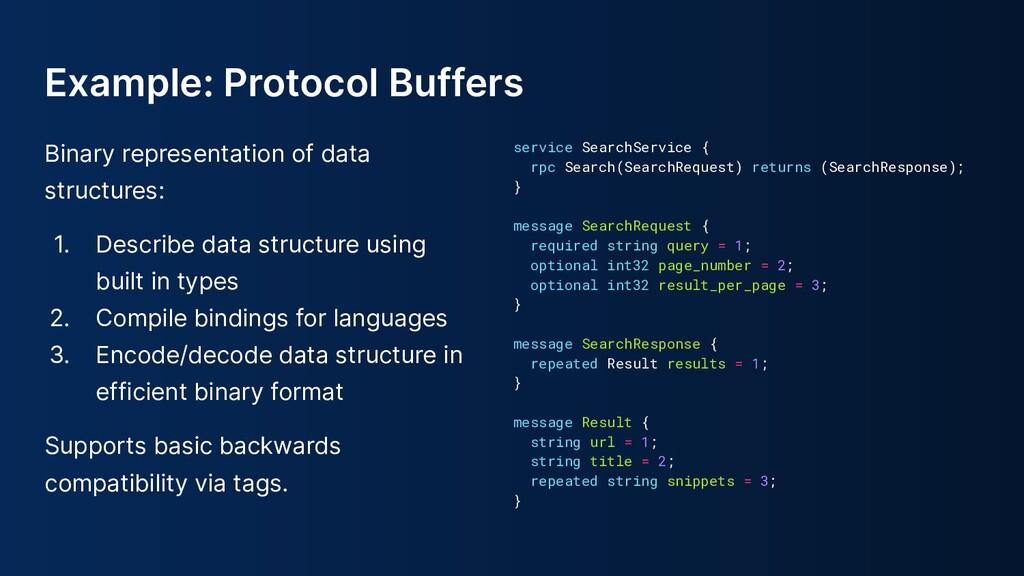 Example: Protocol Buffers Binary representation...