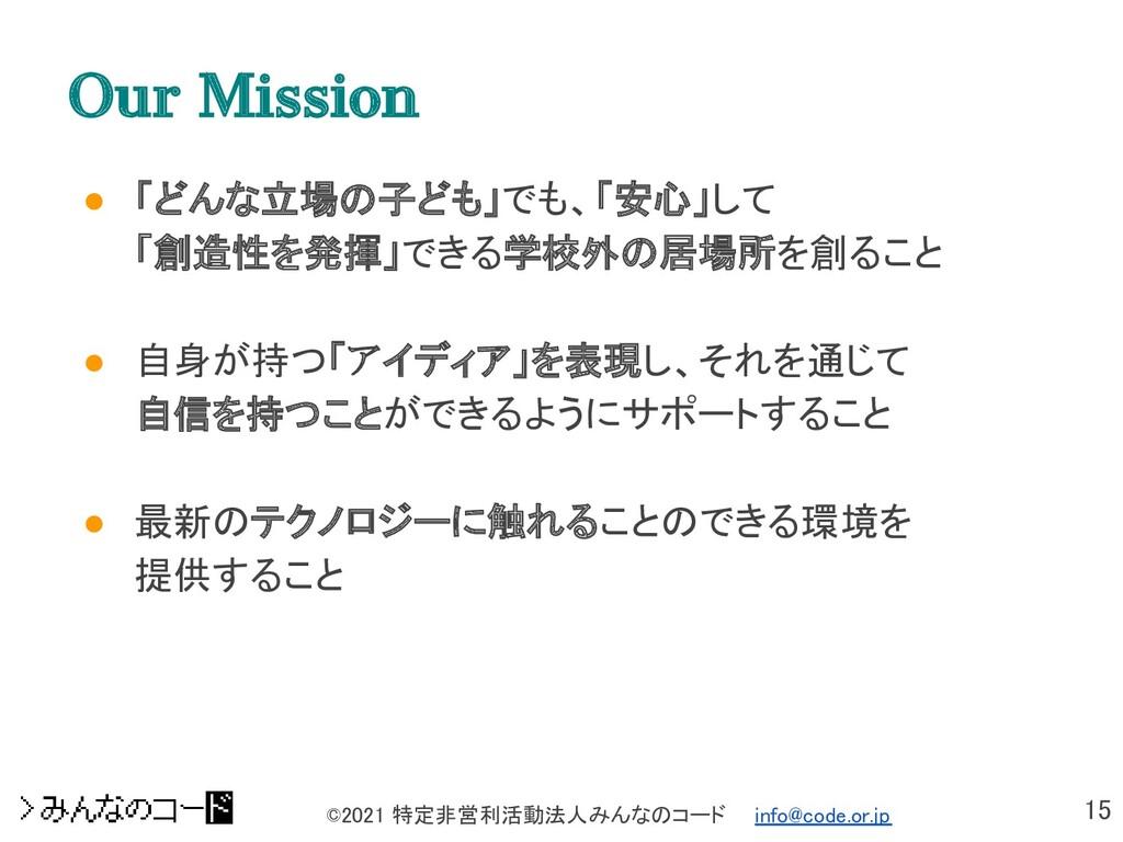 15 ©2021 特定非営利活動法人みんなのコード  info@code.or.jp Ou...