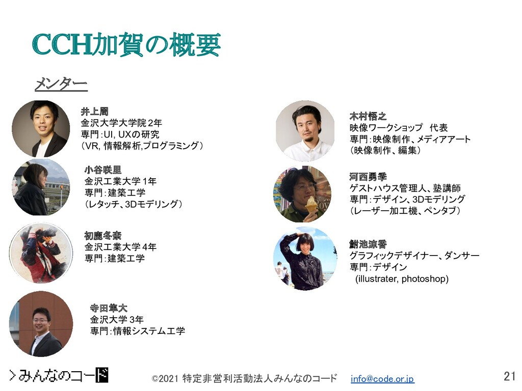 21 ©2021 特定非営利活動法人みんなのコード  info@code.or.jp メン...
