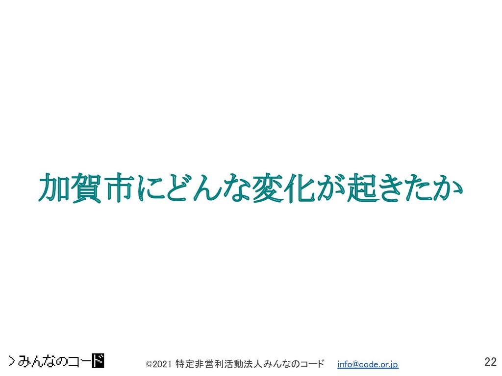 22 ©2021 特定非営利活動法人みんなのコード  info@code.or.jp 加賀...