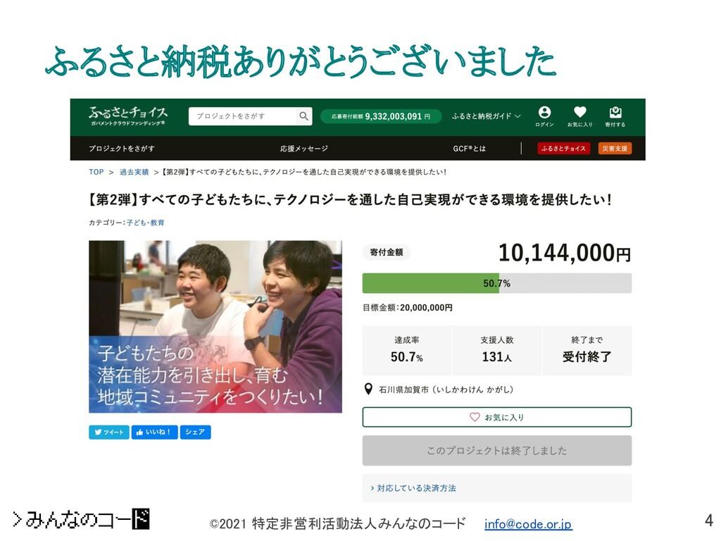 4 ©2021 特定非営利活動法人みんなのコード  info@code.or.jp ふるさ...