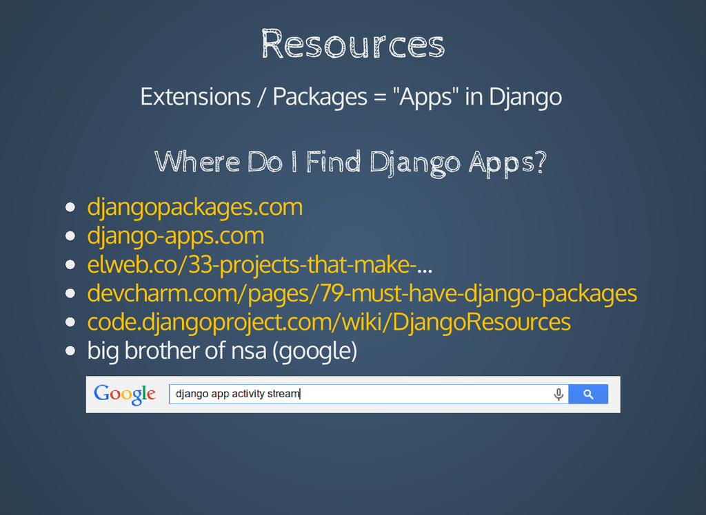 "Resources Extensions / Packages = ""Apps"" in Dja..."