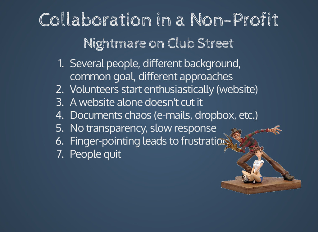 Collaboration in a Non-Profit Nightmare on Club...