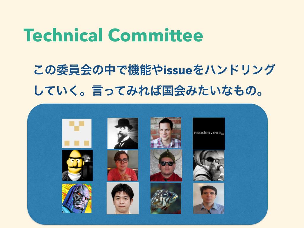 Technical Committee ͜ͷҕһձͷதͰػissueΛϋϯυϦϯά ͍ͯ͠...