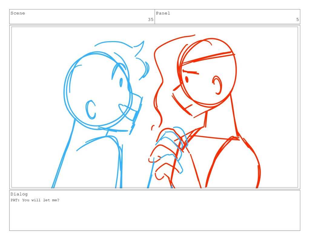 Scene 35 Panel 5 Dialog PAT: You will let me?