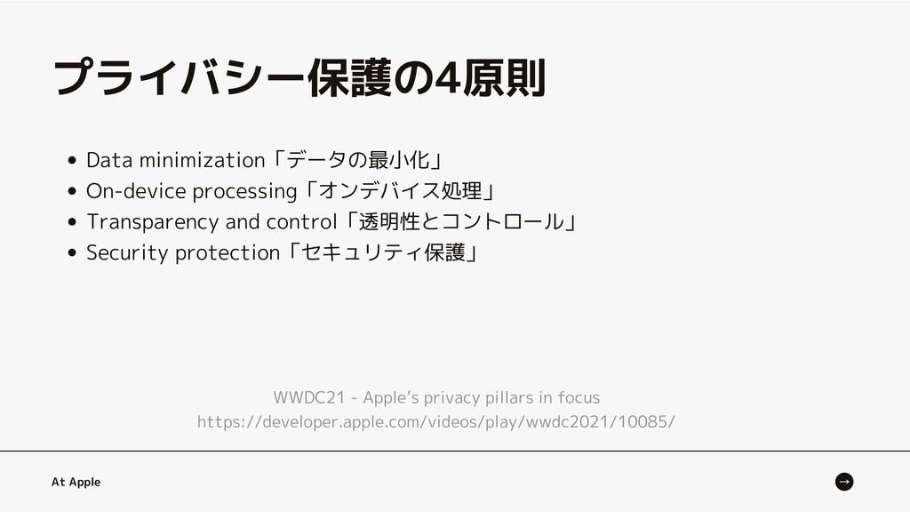 Data minimization「データの最小化」 On-device processing...