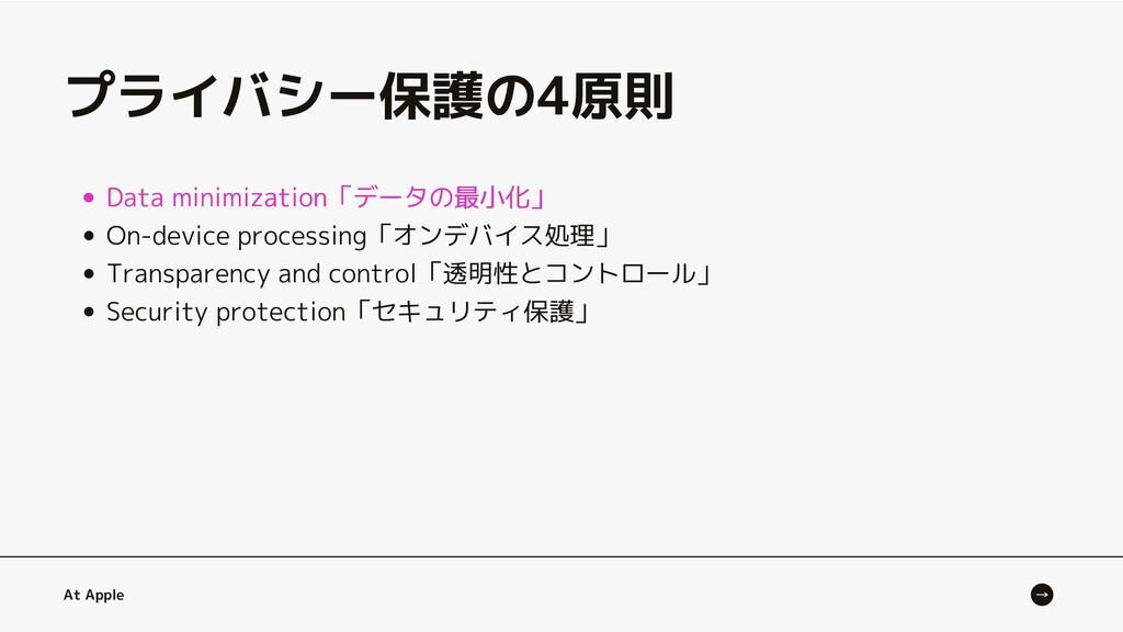 Data minimization「データの最小化」 At Apple Data minimi...