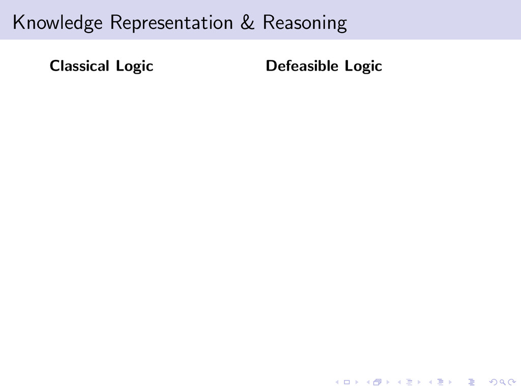 Knowledge Representation & Reasoning Classical ...