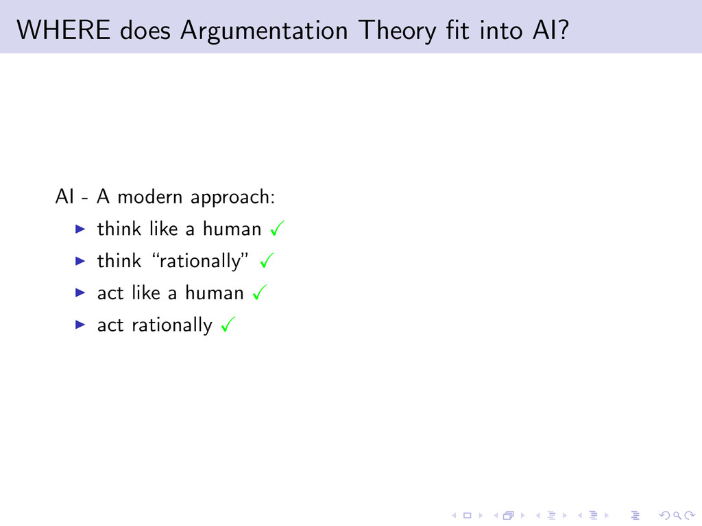 WHERE does Argumentation Theory fit into AI? AI ...