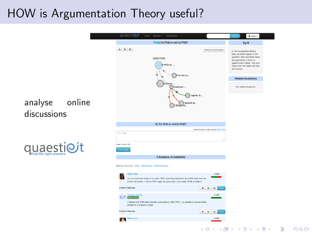 HOW is Argumentation Theory useful? analyse onl...