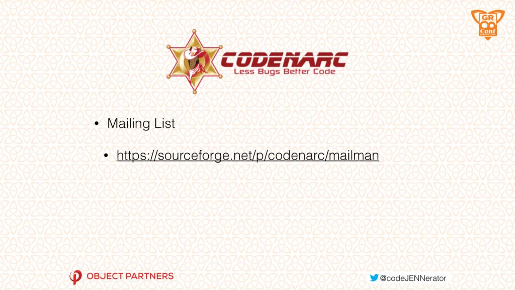 • Mailing List • https://sourceforge.net/p/code...
