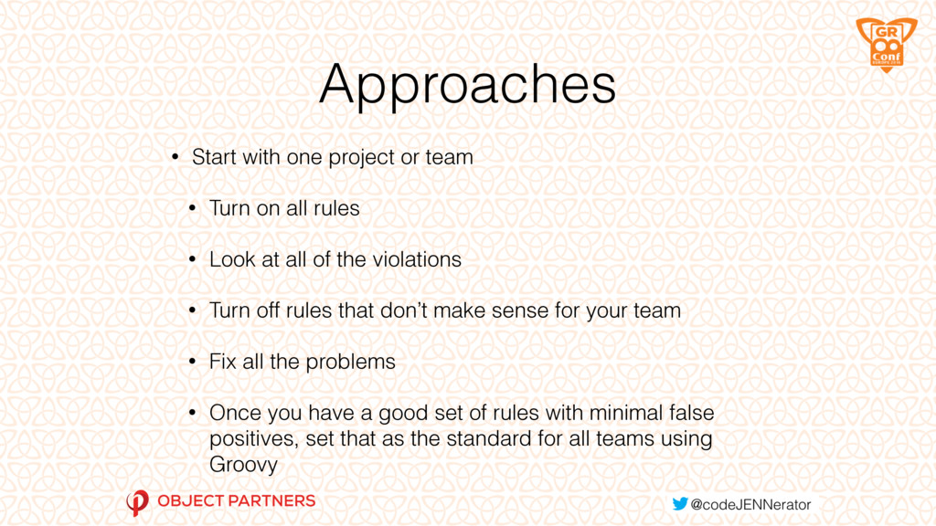 Approaches • Start with one project or team • T...