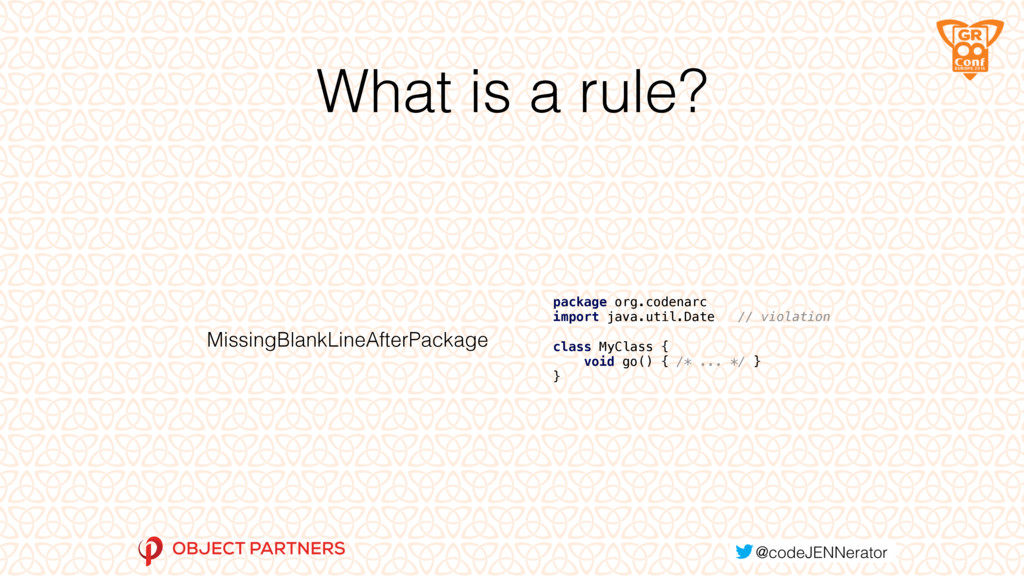 What is a rule? MissingBlankLineAfterPackage pa...