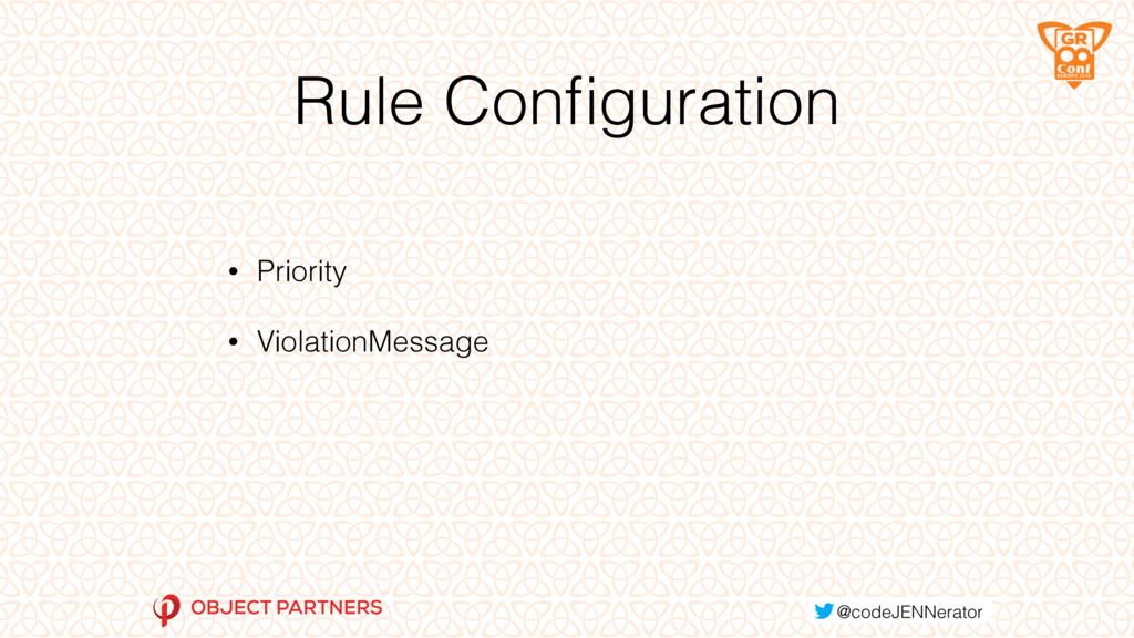 Rule Configuration • Priority • ViolationMessage