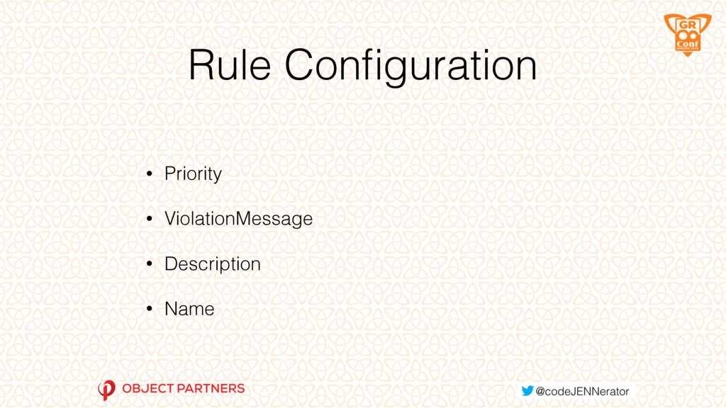 Rule Configuration • Priority • ViolationMessage...