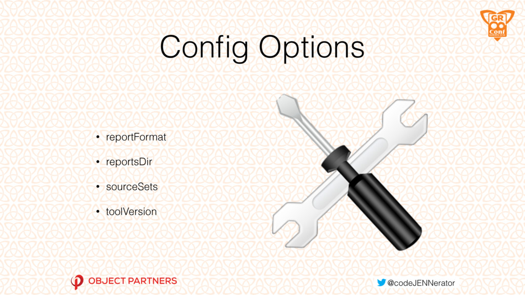 Config Options • reportFormat • reportsDir • sou...