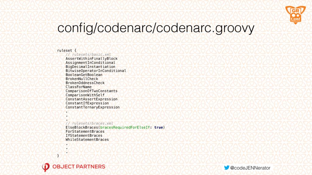 config/codenarc/codenarc.groovy ruleset { // ru...