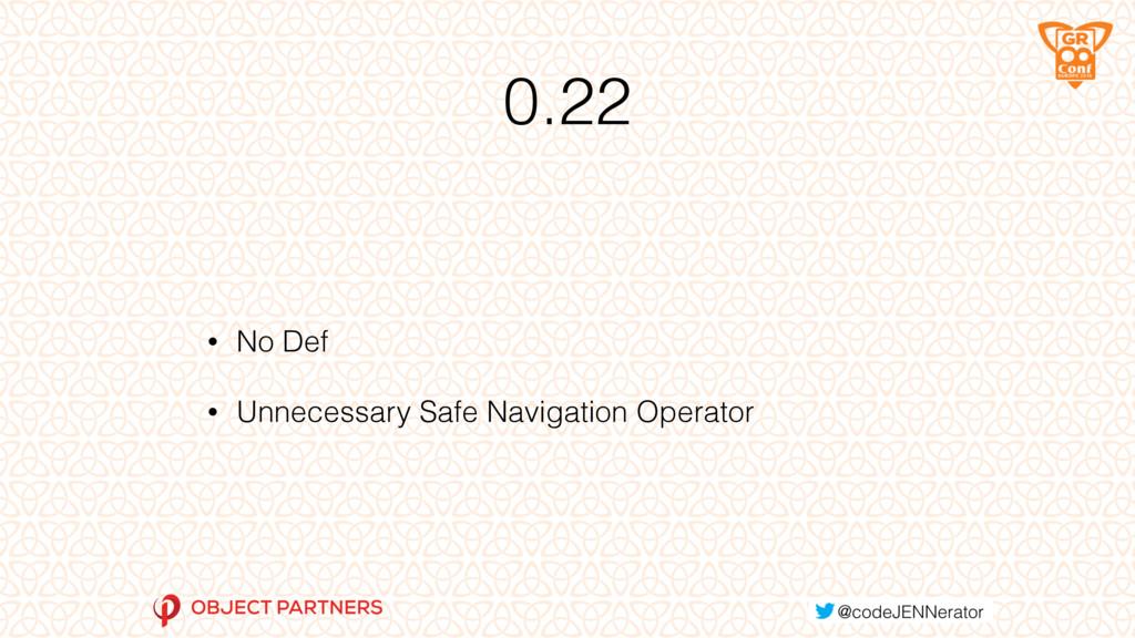 0.22 • No Def • Unnecessary Safe Navigation Ope...