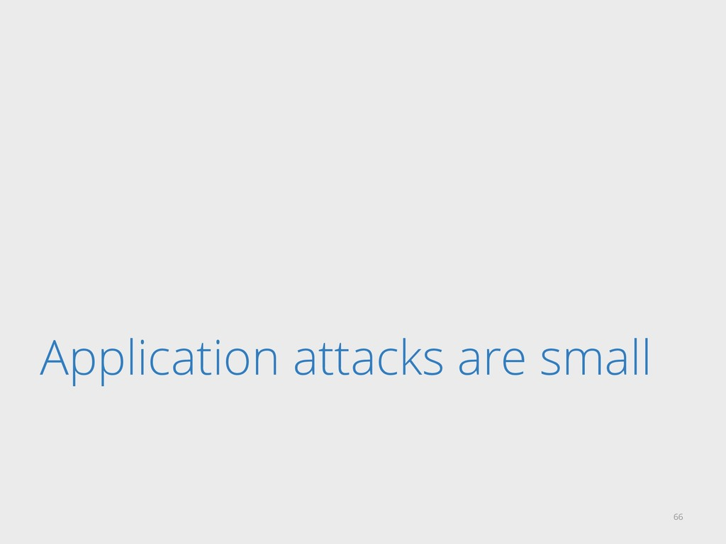 Application attacks are small 66
