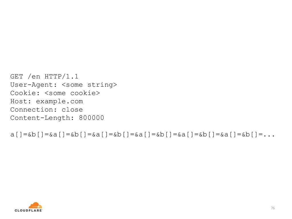 76 GET /en HTTP/1.1 User-Agent: <some string> C...