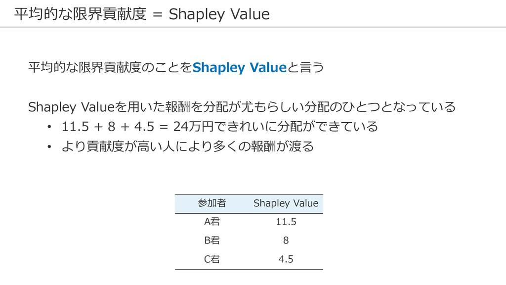 平均的な限界貢献度 = Shapley Value 平均的な限界貢献度のことをShapley ...
