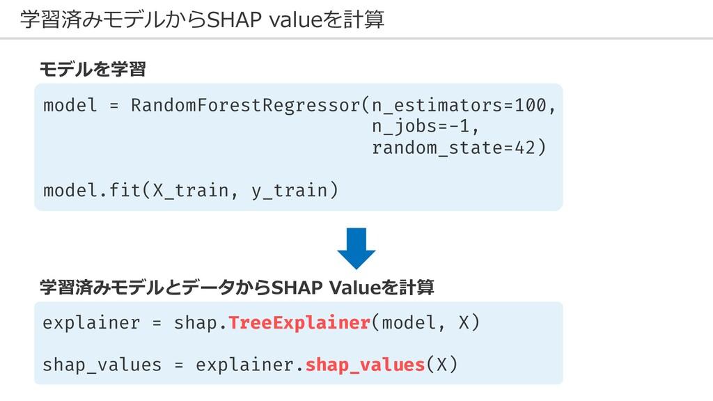 学習済みモデルからSHAP valueを計算 model = RandomForestRegr...