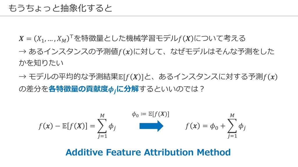 もうちょっと抽象化すると  = $, … , ' (を特徴量とした機械学習モデル  について考...